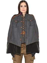 Dsquared Military Style Wool Twill Cape