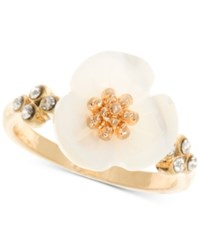 Lonna And Lilly Gold Tone Flower Statement Ring White