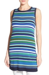 Women's Halogen Stripe Side Slit Sleeveless Tunic Sweater Blue Green Stripe