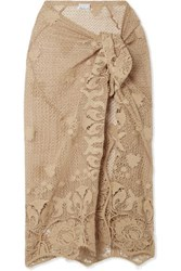 Miguelina Layna Scalloped Cotton Guipure Lace Pareo Beige