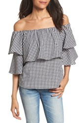 Wayf Women's Gracie Off The Shoulder Top Black White
