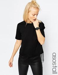 Asos Tall T Shirt With Sheer Panel Black