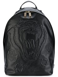 Etro Tiger Embossed Backpack Men Leather One Size Black