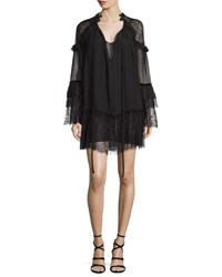 Roberto Cavalli Long Sleeve Silk Peasant Dress Black