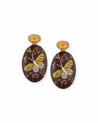 Silvia Furmanovich Marquetry Dark Brown Oval Butterfly Earrings