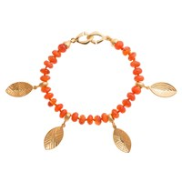 Hissia Carnelian Bracelet With Shield Charms Gold