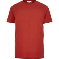 River Island Mens Orange Woven Front T Shirt