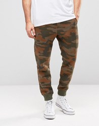 Pull And Bear Pullandbear Skinny Fit Joggers In Tan Camo Tan Camo
