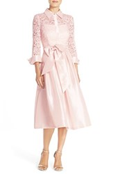 Women's Eliza J Belted Lace And Taffeta Point Collar Midi Dress
