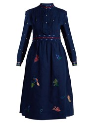 Thierry Colson Rebecca Floral Embroidered Cotton Dress Blue Multi