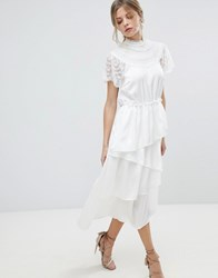 Y.A.S High Neck Lace Midi Dress With Asymetric Hem White