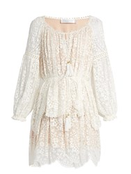 Zimmermann Gossamer Floral Embroidered Silk Dress Ivory