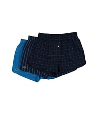 Lacoste Authentics Signature Print 3 Pack Woven Boxers Ocean Depths Mykonos Stripe Deep Teal Men's Underwear Multi