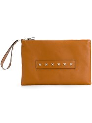 Red Valentino Studded Handle Clutch Leather Brown