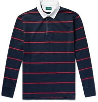 J.Crew Twill Trimmed Striped Cotton Jersey Polo Shirt Navy