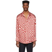 The Elder Statesman Red Silk Kaleidoscope Shirt