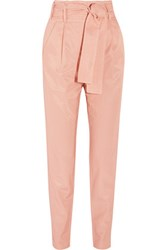 Maje Panisse Belted Cotton Blend Twill Tapered Pants Neutral