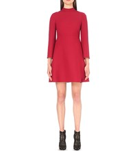 Valentino High Neck Wool And Silk Blend Crepe Red