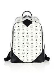 Mcm Duke Visetos Medium Coated Canvas Monogram Backpack White