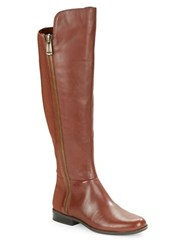 Bandolino Camme Exposed Zipper Knee High Leather Boots Cognac