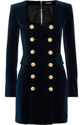 Balmain Double Breasted Cotton Blend Velvet Mini Dress Navy