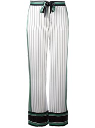 Equipment Bordered Pinstripe Trousers White