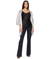 Betsey Johnson Tulle Wrap With Sequin Scallop Pattern White Silver Clothing
