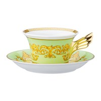 Versace 25Th Anniversary Floralia Green Teacup And Saucer Limited Edition