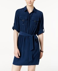 Amy Byer Bcx Juniors' Utility Pocket Shirtdress Navy
