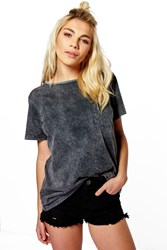 Boohoo Oversized Acid Wash Pocket Tee Grey