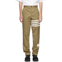 Thom Browne Beige Seamed Four Bar Unconstructed Chino Trousers