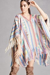 Forever 21 America And Beyond Woven Poncho Pink Multi