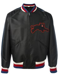 Gucci Panther Embroidery Satin Jacket Black