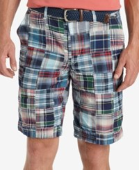 Izod Men's Madras Patchwork Shorts Midnight