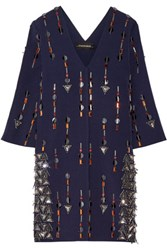 By Malene Birger Cesili Embellished Stretch Jersey Mini Dress Navy