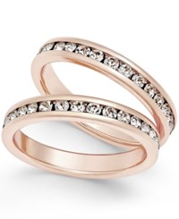 Charter Club Rose Gold Tone 2 Pc. Set Channel Set Crystal Bands Only At Macy's