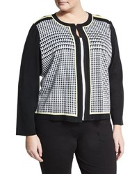 Ming Wang Houndstooth Knit Jacket White Pattern