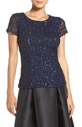 Adrianna Papell Women's Short Sleeve Sequin Mesh Top Navy