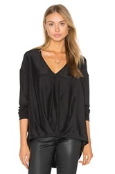 Heather Silk Tuck Front Top Black