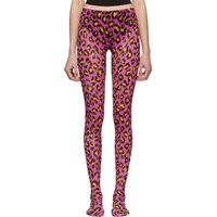Gucci Pink And Yellow Leopard Tights