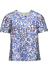 Oscar De La Renta Printed Silk And Cotton Blend Twill Top Multi