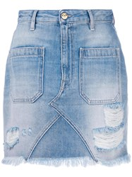 The Seafarer Classic Fitted Denim Skirt Blue
