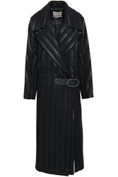 Roberto Cavalli Woman Leather Trimmed Quilted Coated Wool Blend Trench Coat Black