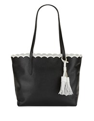 Imnyc Isaac Mizrahi Scalloped Leather Tote Black