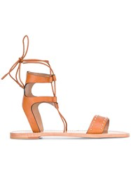 Red Valentino Ankle Strap Flat Sandals Brown
