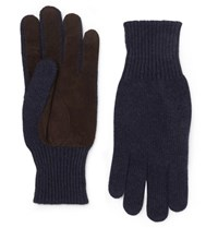 Brunello Cucinelli Suede Panelled Cashmere Gloves Navy