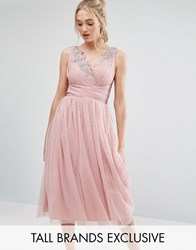 Little Mistress Tall Full Prom Tulle Midi Dress With Lace Applique Rose Pink