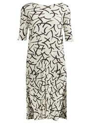 Issey Miyake Pleats Please Abstract Print Pleated T Shirt Dress White Black