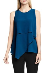 Vince Camuto Women's Asymmetrical Tiered Blouse Port Blue