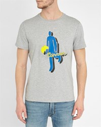 Carven Mottled Grey Stick Figure Pattern Round Neck T Shirt